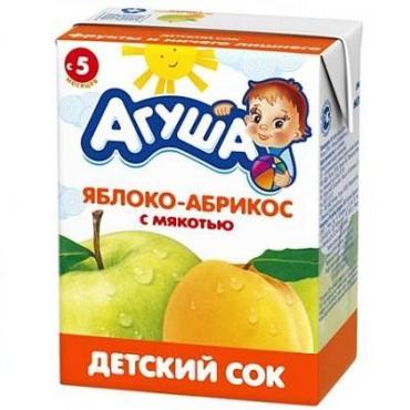 Сок Яблоко-абрикос с мякотью Агуша 200 мл., Тетра-пак