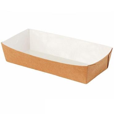 Лоток бумажный жиростойкий для хот-догов крафт 185*105*40мм 600 шт. Try-hd, картонная коробка