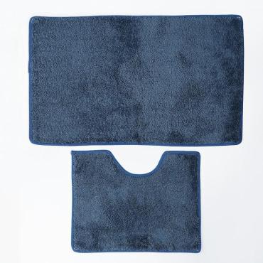 Набор ковриков для ванны и туалета Доляна Лапша 36х50, 50х75 сантиметров цвет синий