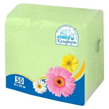 Бумажные салфетки Семья и Комфорт Зеленые 24х24см 1 слой 50шт