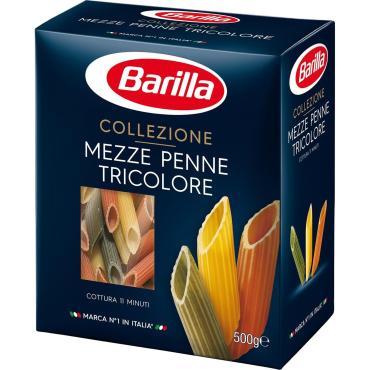 Макаронные изделия трехцветные, Barilla Mezze Penne Tricolore, 500 гр., картонная коробка