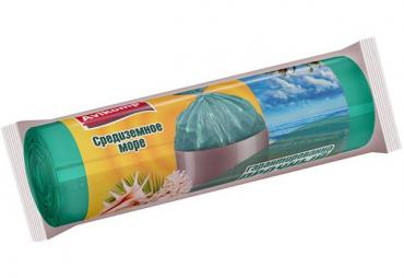 Мешки для мусора ароматизированные ПНД 60л., 15шт., бирюзовые, 88799, Avikomp Средиземное море, флоу-пак