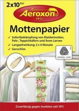 Бумажные листы Aeroxon От моли меховых и ковровых жучков Без запаха 2 ленты по 10 листов