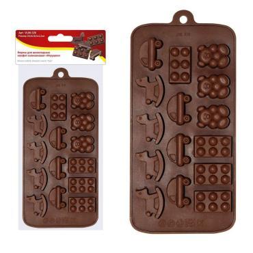 Форма для шоколадных конфет Мультидом Игрушки силиконовая