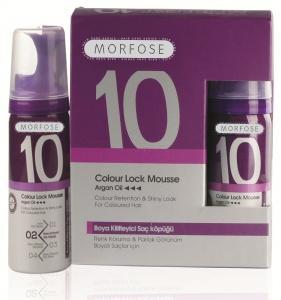 Мусс для сохранения цвета с Аргановым маслом Morfose 10 Color Lock, 300 мл., Пластиковый флакон с дозатором