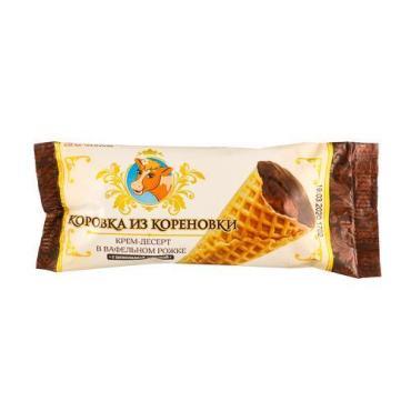 Крем-десерт в вафельном рожке с какао, Коровка из Кореновки, 40 гр., флоу-пак