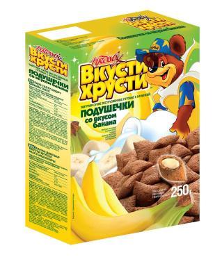 Подушечки банановые Krosby Вкути-хрусти, 250 гр., картонная коробка