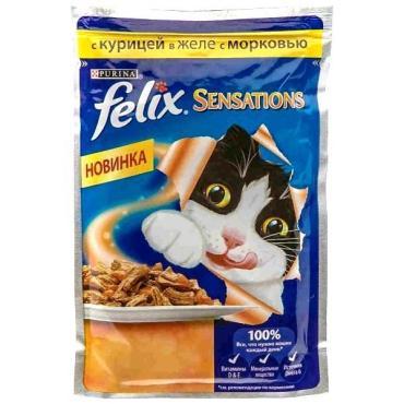 Корм Felix для кошек с курицей в желе с морковью