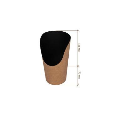 Упаковка для картофеля фри, снеков, средняя, черная, 138*70 мм