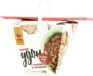 Лапша удон с говядиной и овощами в устричном соусе Pan Asia, 210 гр., картон