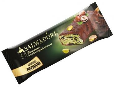 Мороженое пломбир фисташковый с шоколадным бисквитом с фисташкой и шоколадным топингом Salwadore, ПОЛЯРИС, 550 гр., флоу-пак