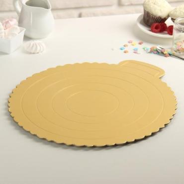 Подложка для торта 30,5 сантиметров Круг волна, цвет золото