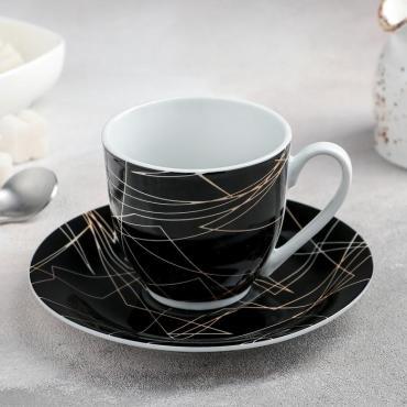 Чайная пара Доляна Кассиопея чашка 200 мл., блюдце 14,5 см.