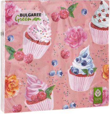 Салфетки бумажные трёхслойные 33х33 20 штук Bulgaree Green Десерт, пластиковый пакет