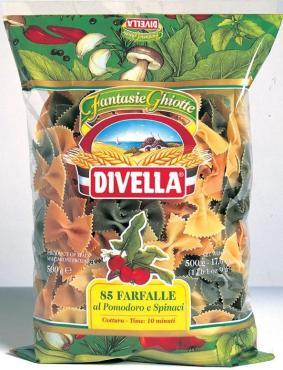 Макаронные изделия с томатамми и шпинатом Divella Farfalle 85, 500 гр., флоу-пак