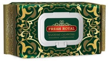 Салфетки влажные очищающие универсальные с клапаном 120 шт., Fresh Royal 391 гр., Флоу-пак
