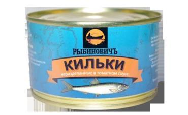 Кильки неразделанные в томатом соусе Рыбиновичъ, 240 гр., жестяная банка