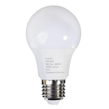 Лампа светодиодная A60, 8W, E27, 650lm, 4200К Forza , 50 гр., картонная коробка