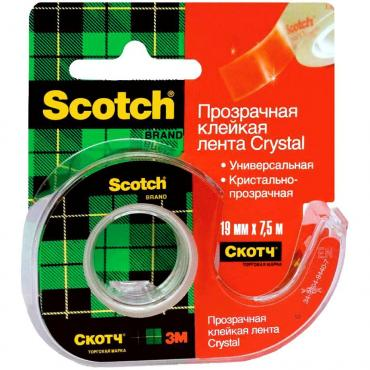 Лента клейкая Scotch Crystal 19ммх7,5м Прозрачная Диспенсер