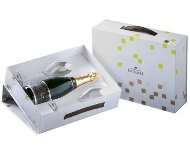 Шампанское Шампань Жакарт Брют Мозаик в П/У с двумя бокалами, Франция