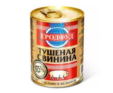 Консервы мясные кусковые в собственном соку ГродФуд Свинина тушеная 338 гр., жестяная банка