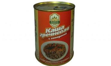 Каша гречневая с говядиной, Калинковичский мясокомбинат, 338 гр., жестяная банка