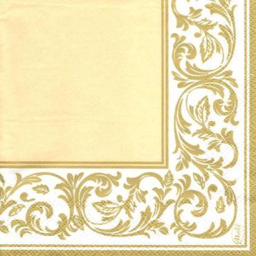 Салфетки с рисунком бежевый фон 25х25 см., 3 сл., 20 шт., Vitto Классика, 100 гр., пластиковый пакет