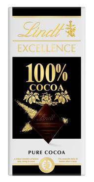 Шоколад 100% Какао, Lindt Excellence, 50 гр., картонная коробка