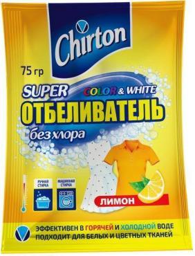Пятновыводитель-отбеливатель, без хлора, лимон порошок, Chirton, Супер отбеливатель 75 гр., сашет