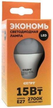 Лампа светодиодная LED, серия ЭКО, 15W30, тип А, груша E27, 2700К, теплый свет, 15000 ч., Старт 117 гр., картонная коробка