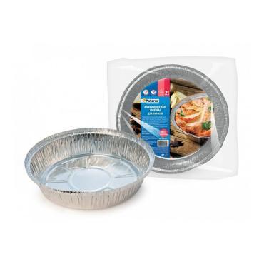 Формы для выпечки круглые алюминиевые на 1400 мл., 2штуки, Paterra, 41 гр., пластиковая упаковка