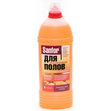 Средство чистящее для полов универсальное Освежающий цитрус, Sanfor, 1 л., пластиковая бутылка