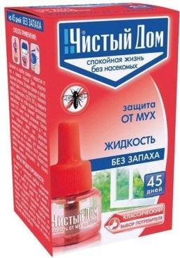 Защита от мух на 45 дней, жидкость без запаха, Чистый дом 56 гр., картонная коробка