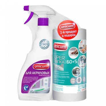 Средство для чистки акриловых ванн и душевых кабин, Тряпка 60 + 5 листов в рулоне, Unicum SmaII, 500 мл., пластиковая бутылка с дозатором