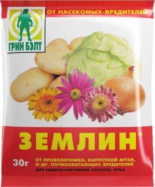 Препарат защита растений от проволочника и капустной мухи, Грин Бэлт, Землин 100 гр., пластиковый пакет