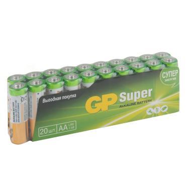 Батарейки AA LR6 20 шт., GP Super Alkaline, пластиковый пакет