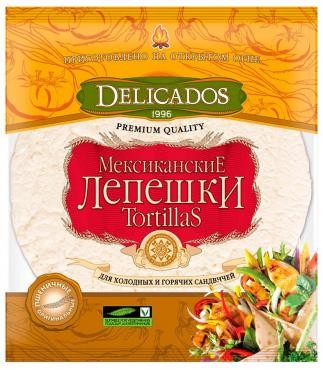 Лепешки Tortillas Delicados Мексиканские Оригинальные 25см*6шт 400г