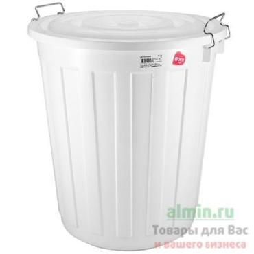 Бак мусорный Bora круглый 48л 480х430мм пластиковый с крышкой на зажимах