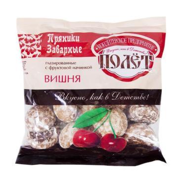 Пряники заварные глазированные с фруктовой начинкой вишня Полет, 300 гр., пластиковый пакет