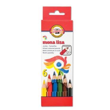 Карандаши цветные утолщенные, 6 цветов, 5,6 мм., заточенные Mona Lisa, Koh-I-Noor, картон