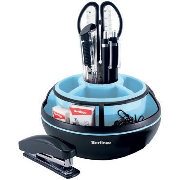 Настольный органайзер Berlingo Instinct, 9 предметов, вращающийся, черный/аквамарин