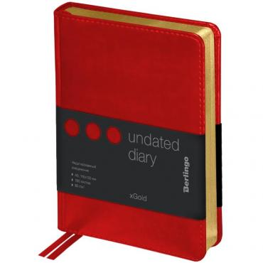 Ежедневник недатир. A6, 160л., кожзам, Berlingo xGold, зол. срез, красный