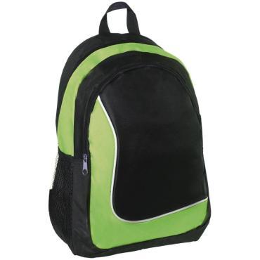 Рюкзак ArtSpace Simple Line, 42*31*15см, 1 отделение, 3 кармана, уплотненная спинка,черный/зеленый
