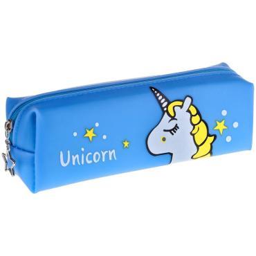 Пенал мягкий 205*60*45 ArtSpace Unicorn blue, мягкий силикон