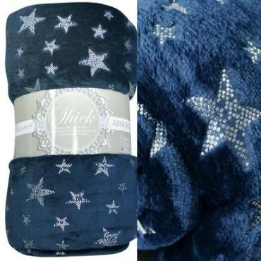 Плед 1,5-спальный фланель синий TexRepublic Absolute Stars TF FNL BL-SL 1520, пластиковый пакет