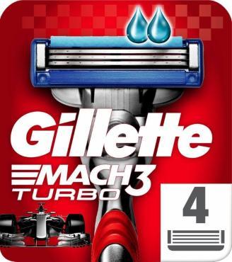 Сменные кассеты Gillette Mach3 Turbo Для мужской бритвы 4шт.