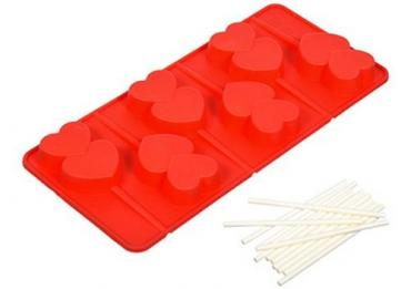 Форма силиконовая для леденцов 21х10х1,5см 6 ячеек, 12 палочек Marmiton Сердечки, бумажная упаковка