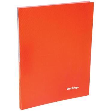 Папка c зажимом Berlingo Neon, 17мм, 700мкм, неоновая оранжевая
