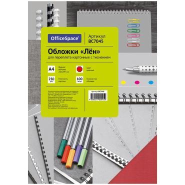 Обложка А4 OfficeSpace Лен 250г/кв.м, красный картон, 100л.