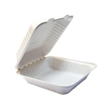 Ланч-бокс белый на 1000 мл., размер 202 х 202 х 76 мм., материал сахарный тростник GREEN MYSTERY, 100 гр., картонная коробка